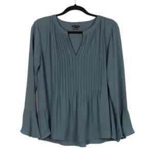 Ann Taylor Small Teal Green Pin Tuck Blouse Shirt